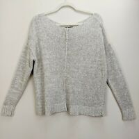 Eileen Fisher Medium Sweater Pullover Knit Boat Neck Cropped Boxy Marled Beige
