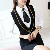 Lady Business Work Vests Sleeveless Slim Waistcoat Gilet Tuxedo Tops Bar Uniform