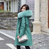 Winter Hooded Fur Collar Long Coat Parka Outwear Women's Warm Down Cotton Jacket