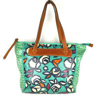 Fossil Floral Tote Bag Shopper Purse Shoulder Leather Coated Canvas Blue Handbag