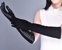 Guanti Donna Vera Pelle Lunghi gomito touch screen caldi pelliccia