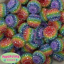 22mm Rainbow Stripe Rhinestone Bubblegum Beads Resin 20 pc Gumball