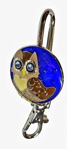 Owl Cloisonne Key Purse Hanger Handbag Hook Holder Clip Rhinestone Eyes, Owls