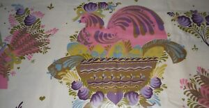 Vintage Chintz Cotton Fabric ~ French Country Hen Floral ~ Pink Lavender