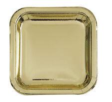 GOLD METALLIC Shiny LARGE SQUARE PAPER PLATES (8) ~ Birthday Wedding Supplies