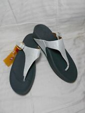 FITFLOP THE SKINNY DELUXE SILVER LEATHER TONING SANDALS SZ 10 NEW w/ TAGS NWOB
