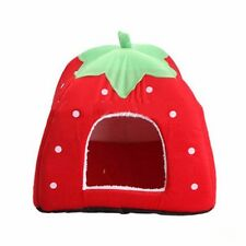 Cute Strawberry Dog /Cat Soft Canopy Cushioned Sleep Tent FREE SHIPPING