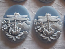 White Dragonfly & Lotus Flowers on Blue Cameo - 25X18mm Resin Cabochons Qty 6