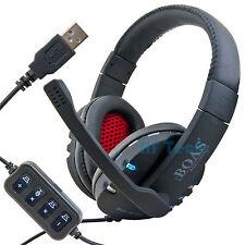 USB CUFFIE STEREO CUFFIE MICROFONO NOTEBOOK LAPTOP PC VoIP GAMER cerchietto