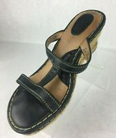 Born Black Leather Wedge Sandals T Strap High Heel Womens Size 10