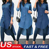 USA Women's Blue Jeans Denim T-Shirt Long Sleeve Casual Loose Shirt Mini Dress