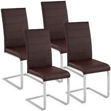 4x Chaise cantilever de salle à manger ensemble à piètement luge cuisine brun