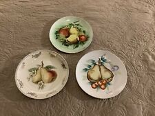 Antique Fruit Plates, lot of 3 with pears