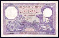 Algeria 100 Francs  1933  P-81  VF