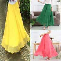 High waist swing solid new chiffon retro long skirt maxi dress women boho skater