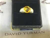 David Yurman 3CT CITRINE 14K GOLD & .925 STERLING SILVER CABLE RING US SIZE 8.5