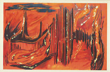 """Abstract Contemporary Modern Outsider Art Painting Print Matted 9"""" x 11.75"""" MDC"""