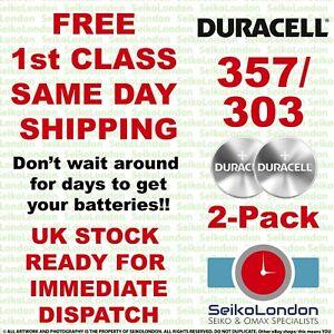 2 Pack Duracell 357/303, SR44W/SR44SW, SR1154 1.55v Battery FREE 1st class post