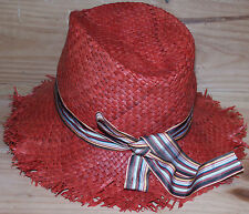 PAUL SMITH RED ROLL UP STRAW WICKER HAT VERY RARE BRAND NEW SZ: L made in Italy