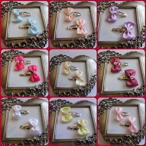 Girls Hair Clips Snap Clips Lots of Colours 1 Pair white ivory pink red lilac