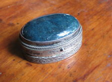 ORNATE 900 SILVER PILL BOX with BLUE STONE On LID