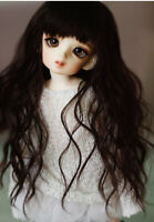 BJD Doll 1/6 6-7 Wig Long curly Afro Hair Straight Bangs Mohair for Girl Brown