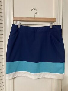 adidas Golf Women's Ultimate Adistar Color Block Skirt Skort Night Sky Blue Sz M