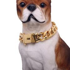 19mm Heavy Training Dog Collars Cuban Choker Pet Show Collar Stainless Steel