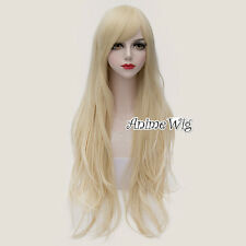 Lolita Women Light Blonde Long 80CM Wavy Hair Anime Party Cosplay Wig
