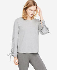 NWT Ann Taylor Lace Up Bell Sleeve Top $60 Size XS Fizz Grey Heather 8