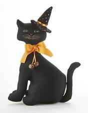 """Delton 12"""" Twinkle Plush Black Fabric Halloween Cat With Witch Hat"""
