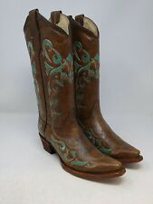 Circle G Women's Brown/Teal Leather Cowgirl Boots Size 8.5 US