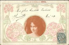 Art Nouveau Beautiful Woman XEROL Soap or Perfume c1900 French Postcard