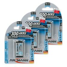 ANSMANN 3-Pack 9V 300 mAh Low Self-Discharge Rechargeable Battery 9 Volt