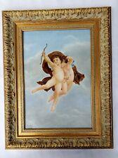 A Very Large Antique Porcelain Plaque Painting After Bouguereau