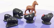Auburn Vtg Rubber Farm Animal Playset Asst 6 pc Lot Pony Black Pigs Turkeys
