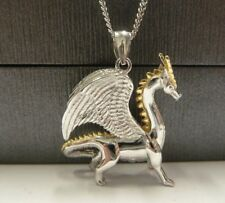 """Solid Sterling Silver Dragon Pendant & 20"""" Sterling silver Chain - 9.2 grams"""