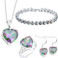 Jewelry Set Natural Mystic Fire Topaz Gems Silver Bracelet Pendant Earrings Ring