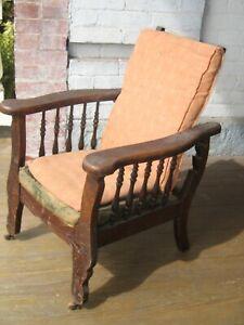 Rare Child's Antique Oak Morris Mission Chair – Original Finish & cushion