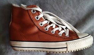 CONVERSE ALL STARS Chuck Norris Tan Leather Trainers UK 5