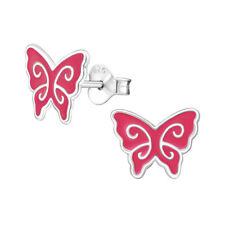925 Sterling Silver Butterfly Stud Earrings Girls Kids Pink & Silver Marks Studs