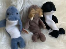 Lot 3 Ty Waves, Jolly & Echo Beanie Babies (whale, walrus, dolphin) Nwt