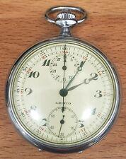 Rare Swiss Aristo Single Button Chronograph Pocket Watch - Runs Great!