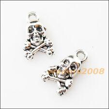 20 New Tiny Halloween Skull Tibetan Silver Tone Charms Pendants 8x13mm
