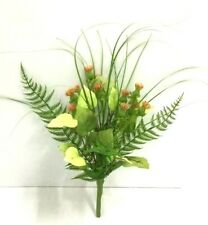 "Clover Blossom Spray Pick~Fern,Grass,Potato Ivy~Silk/Pvc Artificial~12"" T"