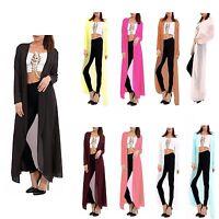 New Womens Ladies Chiffon Long Sleeves Cardigan Kimono Water Fall Maxi Top 8-26