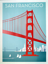 San Francisco vintage style travel poster Golden Gate Bridge with city and Bay