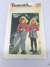 4495 Vintage Butterick Sewing Pattern Toddler's Jumper And Overalls Size 3