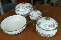 7 Piece Normandy Taiwan Cookware Vintage Enamel Pots & Pans w Lids Floral Set