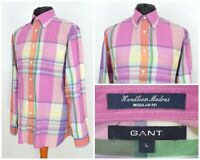 Mens GANT Handloom Madras Long Sleeve Shirt Pink Check Regular Fit Size L